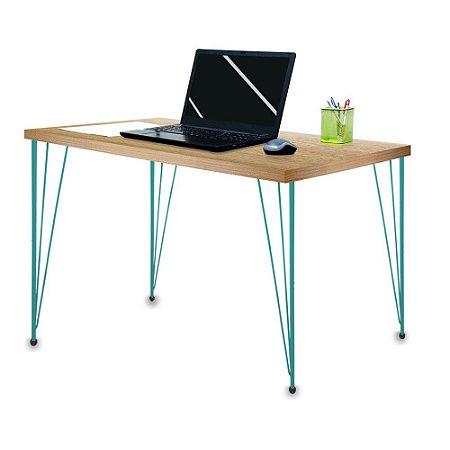 Mesa para Escritório Escrivaninha Estilo Industrial Noruega Mdf 100cm Verde e Jade