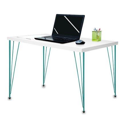 Mesa para Escritório Escrivaninha Estilo Industrial Noruega Mdf 100cm Verde e Branca
