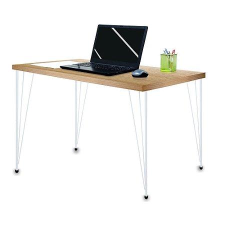 Mesa para Escritório Escrivaninha Estilo Industrial Noruega Mdf 100cm Branca e Jade
