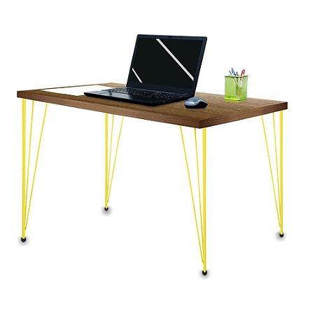 Mesa para Escritório Escrivaninha Estilo Industrial Noruega Mdf 100cm Amarelo e Villandry