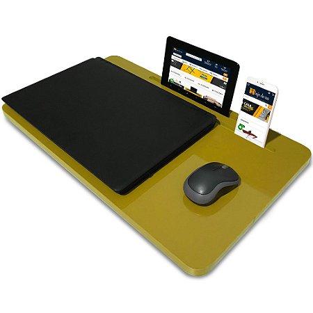 Suporte Mesa para Notebook Slim Tablet Celular para usar na Cama 56cm x 33cm Amarelo