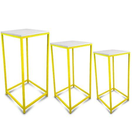 Conjunto Mesa de Canto Genebra - Amarela com Tampo Branco