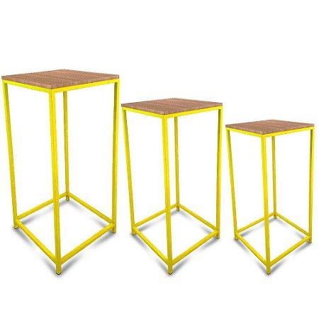 Conjunto Mesa de Canto Genebra - Amarela com Tampo Jade