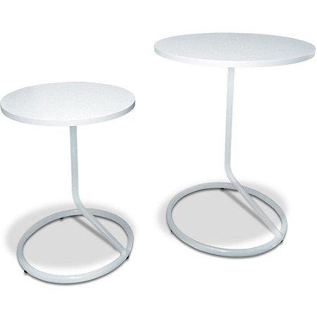 Mesa De Canto Dupla Jasper - Branco/Branco