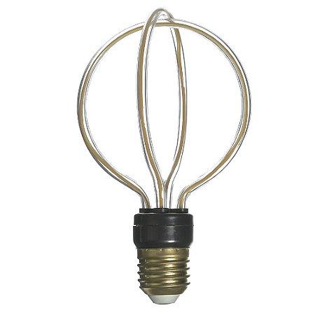 Lâmpada LED Filamento 3D E27 8w Branco Quente