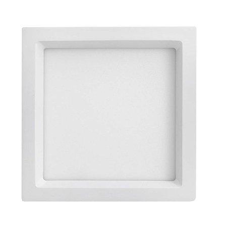 Luminária Plafon 20W LED Embutir Recuado Quadrado Branco Neutro