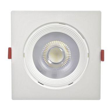 Spot LED 12W SMD Embutir Quadrado Branco Quente Base Branca