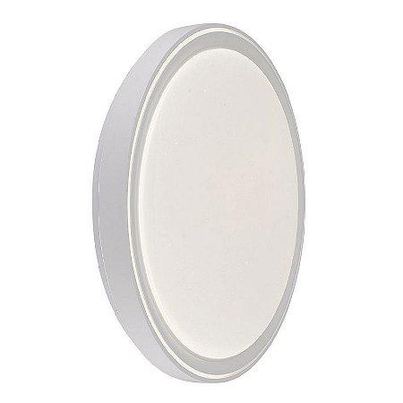 Luminária Plafon LED 40cm 48W Sobrepor Redondo Chanfro 3 Cores Branco