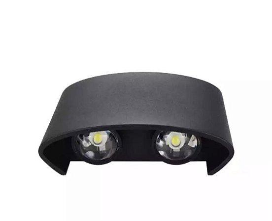Luminária Arandela LED 4W Externa Branco Quente Preta