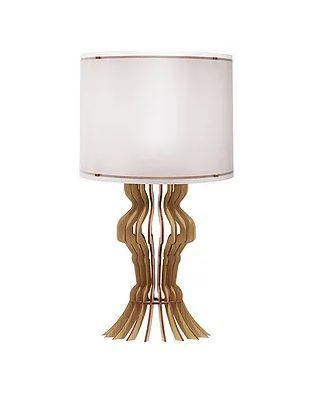 Luminária de Mesa LED Abajur Classic P Cúpula Cônica Carvalho