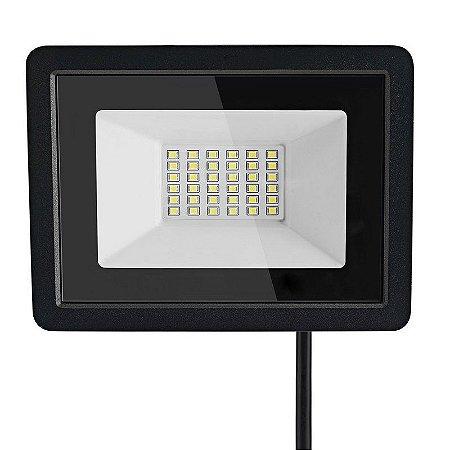 Refletor MicroLED Ultra 30W Branco Frio Black Type