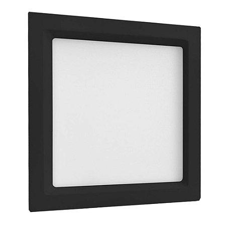 Luminária Plafon 25W LED Embutir Recuado Quadrado Branco Neutro Preto