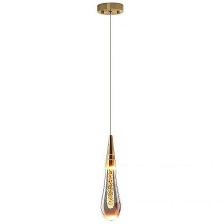 Pendente Mini Gota Com Brilho LED Dourado 2W Branco Quente