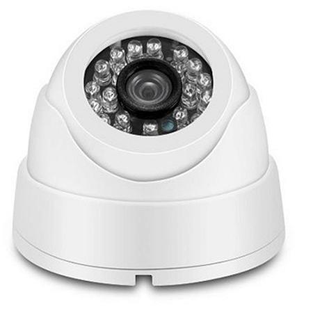 Câmera Segurança de LED Dome Infravermelho AHD 24 LEDs 1200TVL Branca