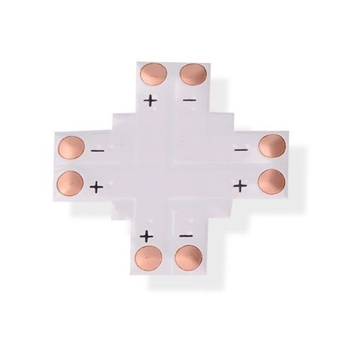 Conector PCB em Cruz para Fita Led 10mm 2 Vias