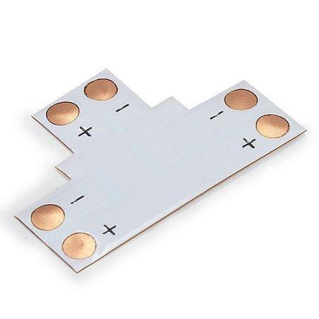 Conector PCB em T para Fita Led 10mm 2 Vias