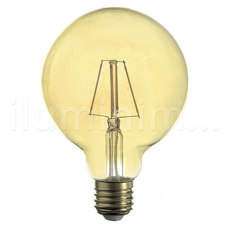 Lampada LED Globo G95 4W Vintage Carbon Branco Quente   Inmetro