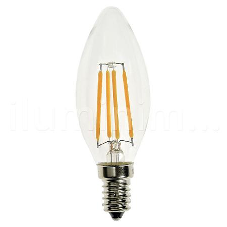 Lâmpada LED Vela 4W Cristal Branco Quente Filamento | Inmetro