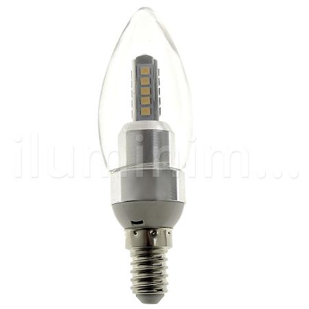 Lâmpada LED Vela Cristal E14 5w Bivolt Branco Quente | Inmetro