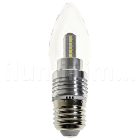 Lâmpada LED Vela Cristal E27 5W Bivolt Branco Frio | Inmetro