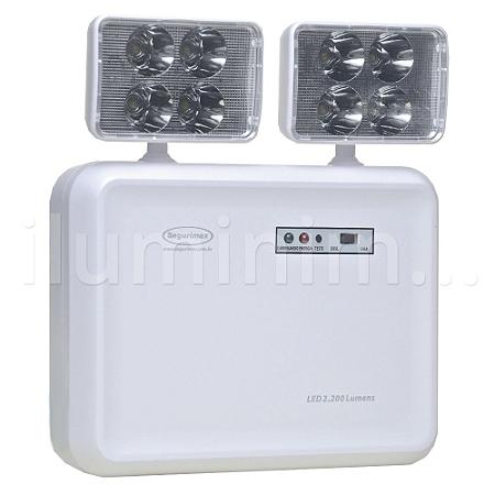 Luminária de Emergência LED 2.200 Lúmens   2 Faróis