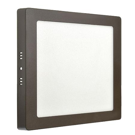 Luminária Plafon 18w LED Sobrepor Branco Neutro Marrom