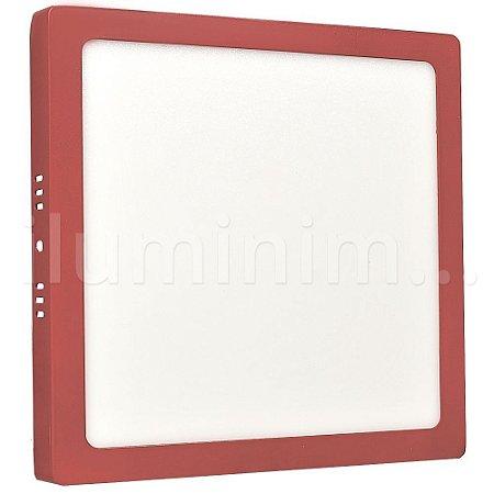 Luminária Plafon 18w LED Sobrepor Branco Quente Vermelho