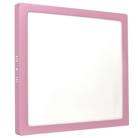 Luminária Plafon 25w LED Sobrepor Branco Frio Rosa