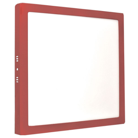 Luminária Plafon 25w LED Sobrepor Branco Frio Vermelho