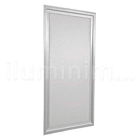 Luminária Plafon 30x60 18w LED Embutir Branco Frio Borda Aluminio