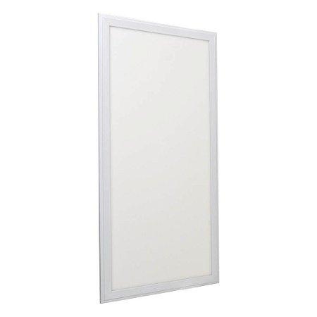 Luminária Plafon 30x60 24w LED Embutir Branco Neutro Borda Branca