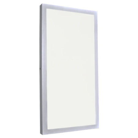Luminária Plafon 30x60 24W LED Sobrepor Branco Neutro Borda Branca