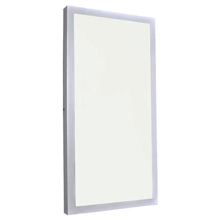 Luminária Plafon 30x60 36W LED Sobrepor Branco Quente Borda Branca