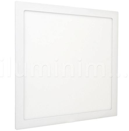 Luminária Plafon 40x40 42W LED Embutir Branco Frio Borda Branca