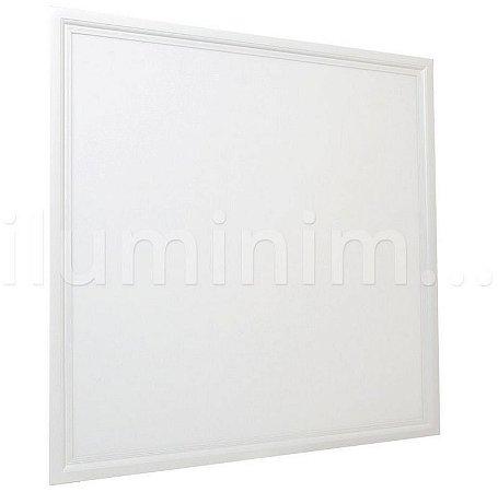 Luminária Plafon 62x62 50W LED Embutir Branco Quente Borda Branca