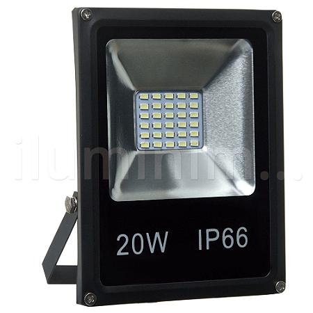 Refletor Holofote MicroLED Slim 20W Branco Frio