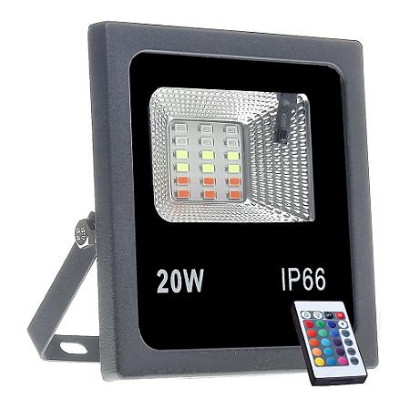 Refletor Holofote MicroLED SMD 20w RGB Colorido com Controle