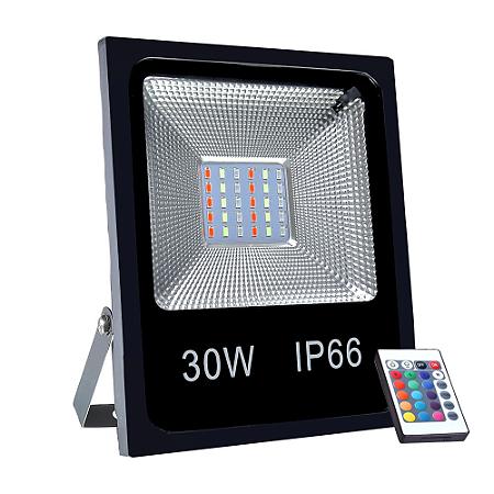 Refletor Holofote MicroLED SMD 30w RGB Colorido com Controle