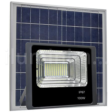 Refletor LED Solar 100w 63 Leds Auto Recarregável