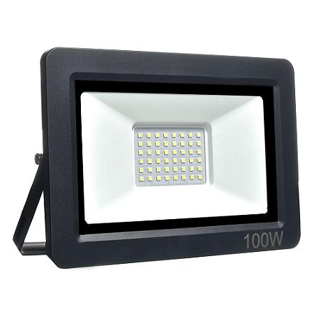 Refletor MicroLED Ultra Thin 100W Branco Quente Black Type