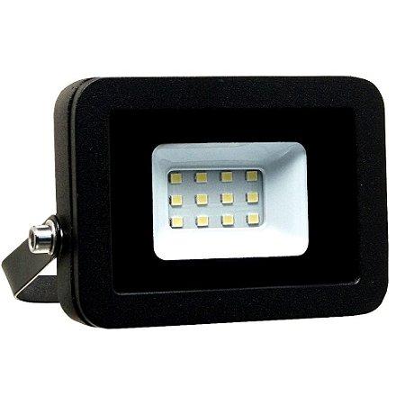Refletor MicroLED Ultra Thin 10W Branco Frio Black Type