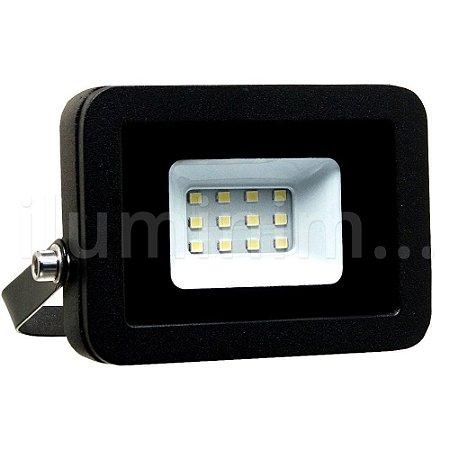 Refletor MicroLED Ultra Thin 10W Branco Quente Black Type
