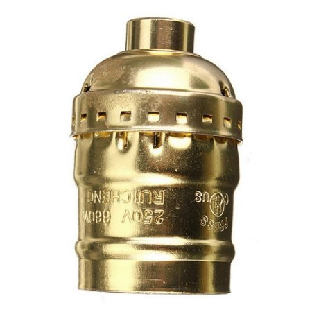 Soquete Bocal Antigo Vintage Retro Bronze Lampada E27 Golden
