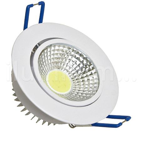 Spot LED COB 3W Embutir Direcionável Branco Frio