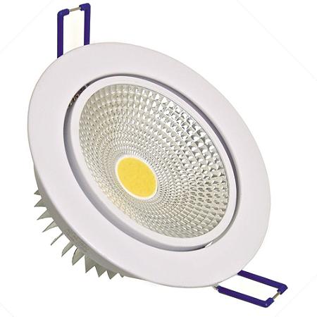 Spot LED COB 7W Embutir Direcionável Branco Quente