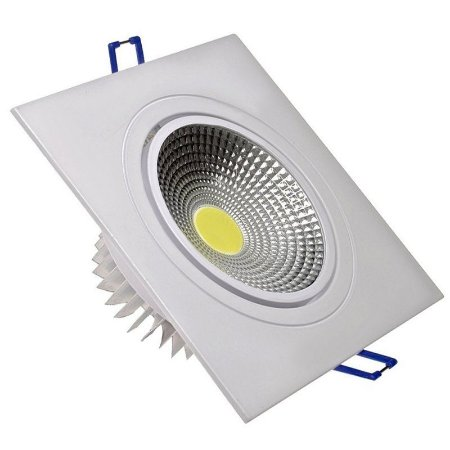 Spot LED COB 7W Quadrado Embutir Direcionável Branco Frio