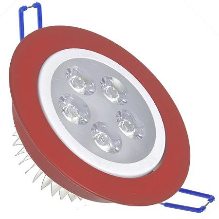 Spot Dicróica 5w LED Direcionável Corpo Vermelho e Branco Bicolor