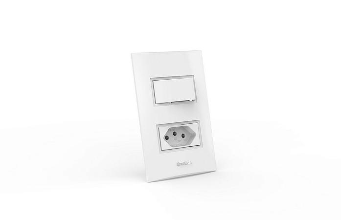 Conjunto Interruptor 1 Tecla Simples Tomada 10A Modular