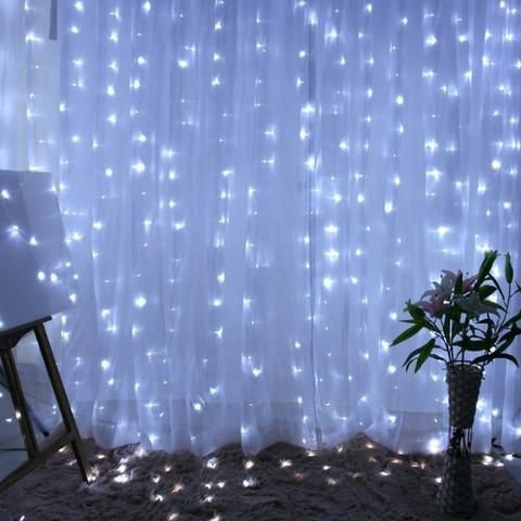 Cortina de LED 300 LEDs Cascata 3m x 2m Branco Frio Bivolt