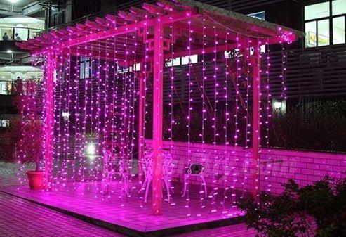 Cortina de LED 300 LEDs Cascata 3m x 2m Rosa Bivolt